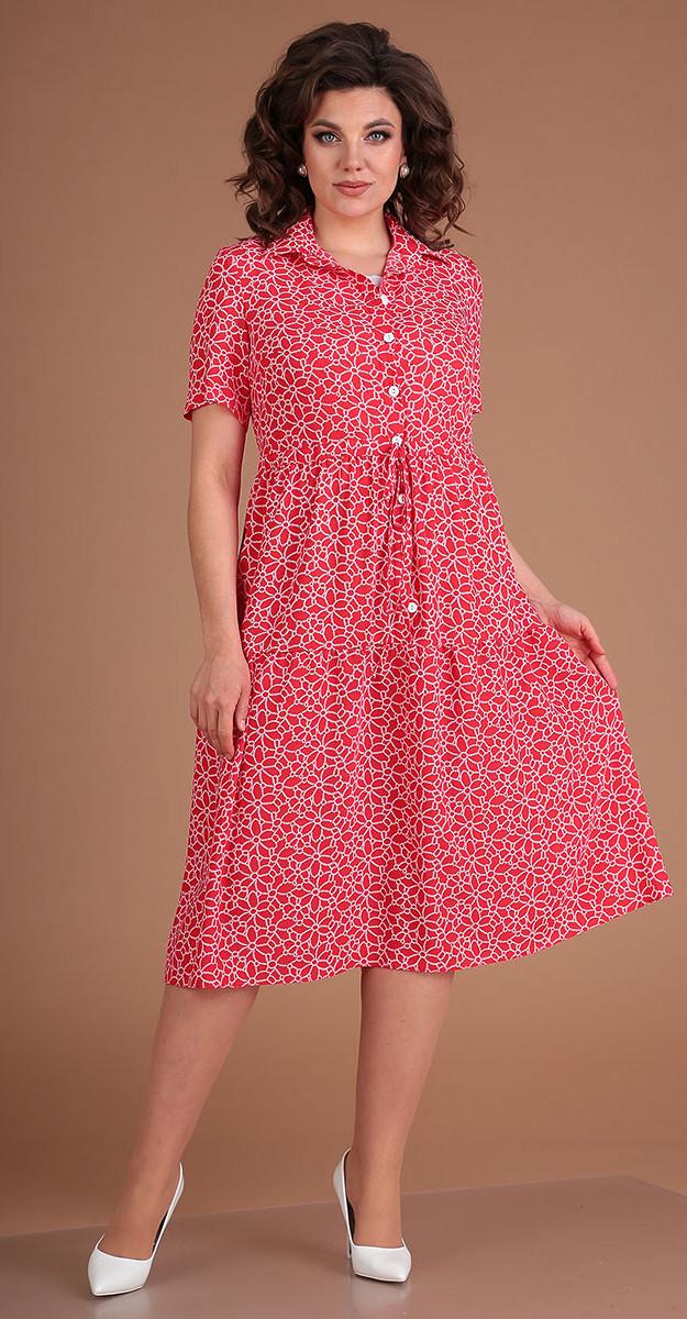 Платье Мода-Юрс-2479/1 белорусский трикотаж, красный, 46