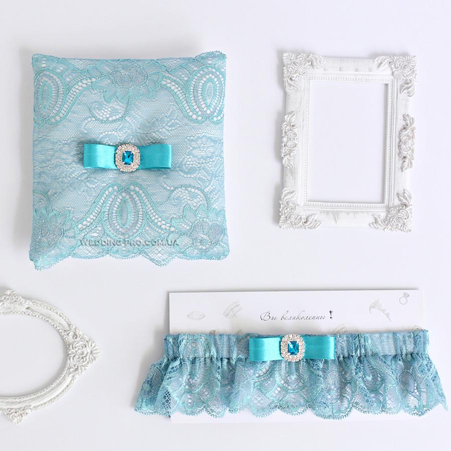 """Свадебный набор """"Лувр"""" подвязка и подушечка"""