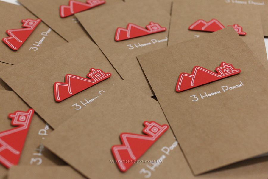 Дизайнерські новорічні листівки з вашим логотипом