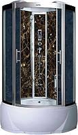 Гидробокс Badico 088 BM 100х100х215 Черный мрамор, тонированное стекло, глубокий поддон