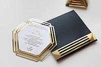 """Запрошення """"Геометрія"""" у чорному конверті, фото 1"""