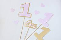 "Топпер ""One Year"" 4 шт розовый, фото 1"