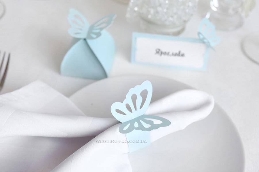 """Кільце для серветки """"Метелики"""" блакитні"""