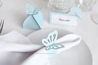"""Кільце для серветки """"Метелики"""" блакитні, фото 1"""