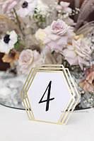 """Номер на стол """"Геометрия"""" золото, фото 1"""