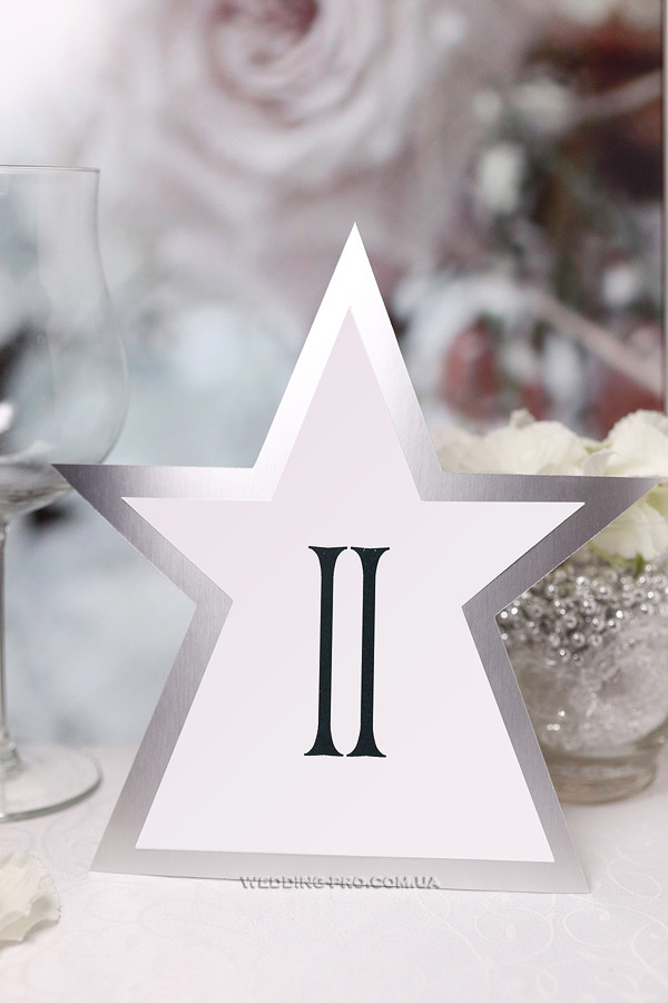 """Номер на стол """"Звезда"""" серебро"""