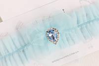 """Подвязка """"Воздушная"""" с голубой брошью небесно-голубая, фото 1"""
