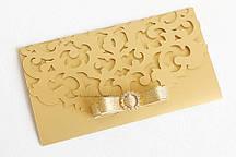 """Конверт для грошей """"Версаль"""" з брошкою золото"""