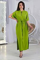 А490 Длинное платье в пол с капюшоном, зеленое/ салатовое/ зеленое яблоко/ зеленого цвета