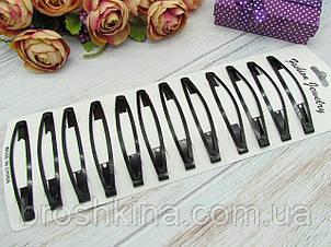 Заколки тик-так 8 см черные 12 шт/уп