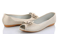 Золотистые балетки с открытым носком в дырочку на широкую стопу большого размера 41 42