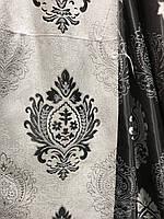Щільна шторна тканина льон з візерунком двостороння, висота 2.8 м на метраж (M11), фото 2