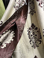 Щільна шторна тканина льон з візерунком двостороння, висота 2.8 м на метраж (M11), фото 5