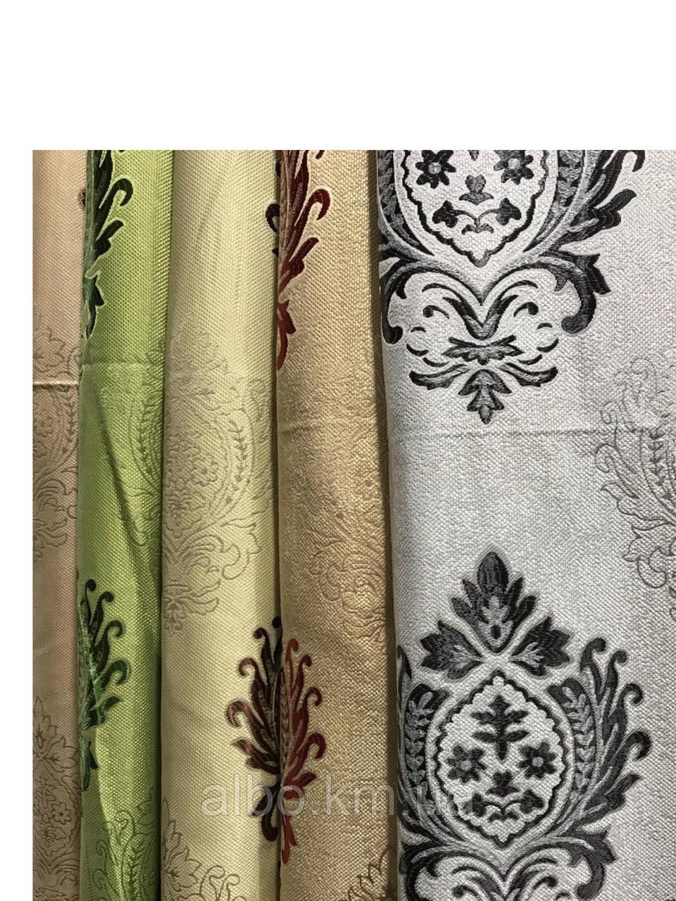 Щільна шторна тканина льон з візерунком двостороння, висота 2.8 м на метраж (M11)