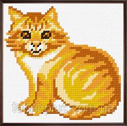 """Набор для вышивания """"Рыжий кот"""" (ткань с рисунком, мулине, игла) 11*11 см"""