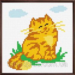 """Набор для вышивания """"Рыжий котик"""" (ткань с рисунком, мулине, игла) 11*11 см"""