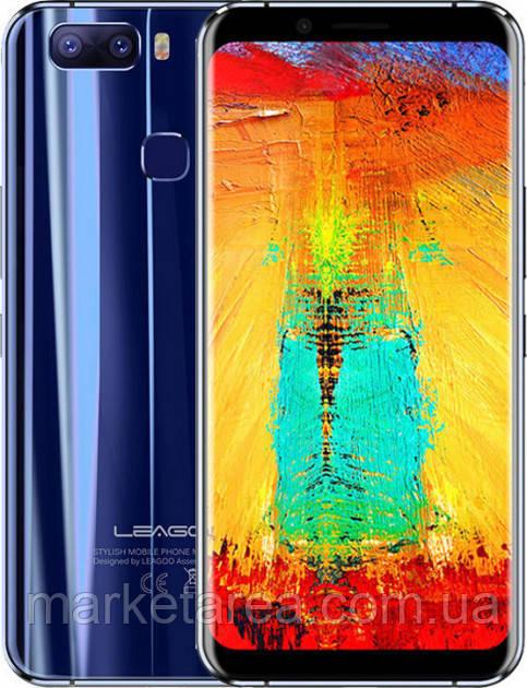 Смартфон синий с большим дисплеем и сканером отпечатка пальца на 2 sim Leagoo S8 Pro blue 6/64 гб