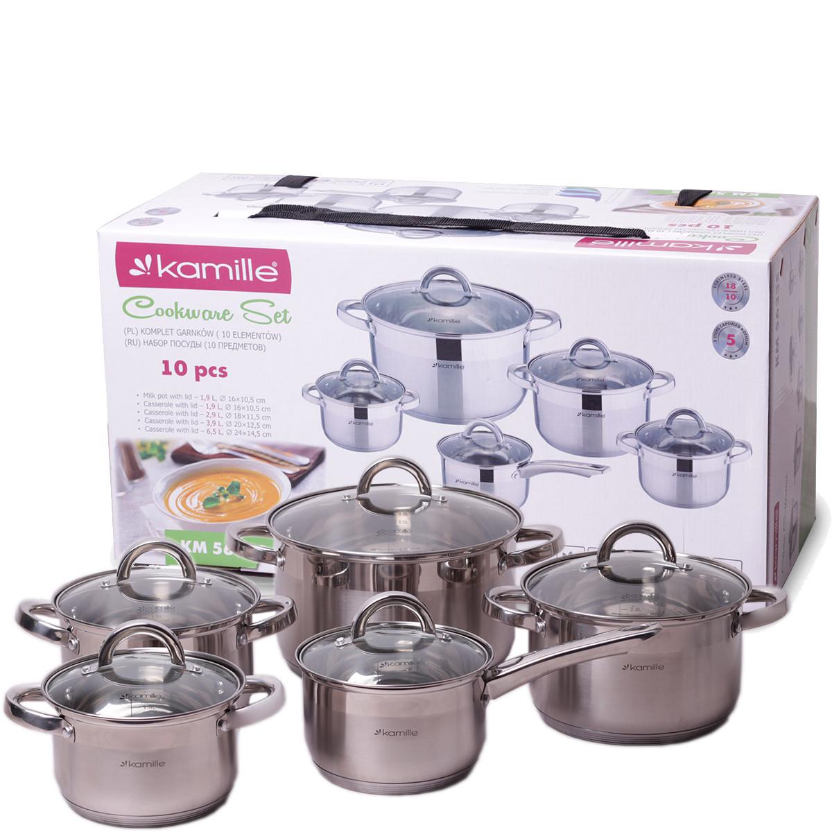Набор посуды Kamille из нержавеющей стали 10 предметов для индукции и газа (2.1л, 2.9л, 3.9л, 6.5л) KM-5633S