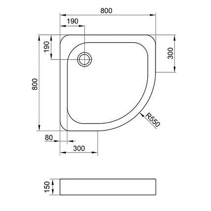 Піддон для душу EGER TISZA 80х80х15 акрил низький (+ сифон ), фото 2