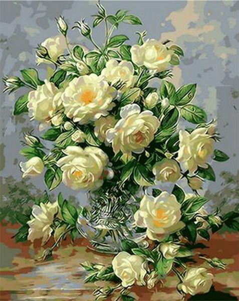 Картина по номерам в раме Букет белых роз