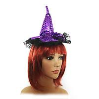 Шляпка на ободке Ведьмочки с кружевом (фиолетовая)