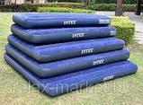 """Надувной матрас """"Intex"""" #64757 Синий 99х191х25 см. Велюр. Ручной насос и подушка в подарок. Одноместный, фото 3"""