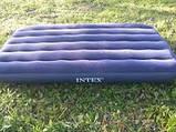 """Надувной матрас """"Intex"""" #64757 Синий 99х191х25 см. Велюр. Ручной насос и подушка в подарок. Одноместный, фото 4"""