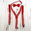 Підтяжки з краваткою (червоні)
