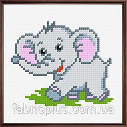 """Набор для вышивания """"Слонёнок"""" (ткань с рисунком, мулине, игла) 11*11 см"""