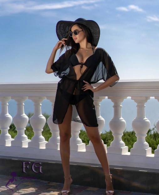 Короткий пляжный черный халат - 42-44р. (бюст 84-88см, длина 80см), шифон