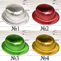 Шляпа Котелок пластик с принтом Голограмма