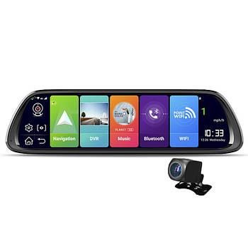 "Зеркало видеорегистратор 10.7"" Lesko Car D30 с GPS навигатором Wi-Fi ADAS 4G WDR камера заднего вида"
