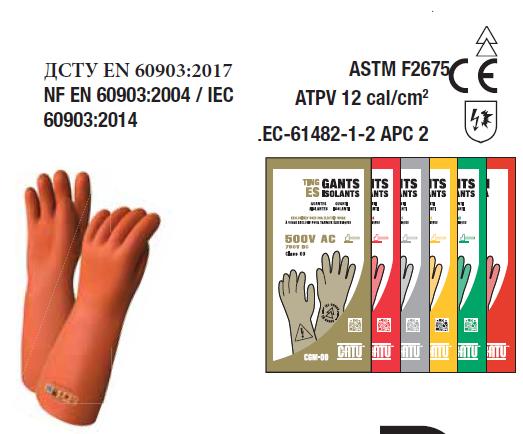 Рукавички (перчатки) діелектричні CATU CGM-4 (клас 4, до 36кВ) , категорія RC