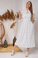 Чарівне плаття міді з укороченим рукавом і квітковим принтом