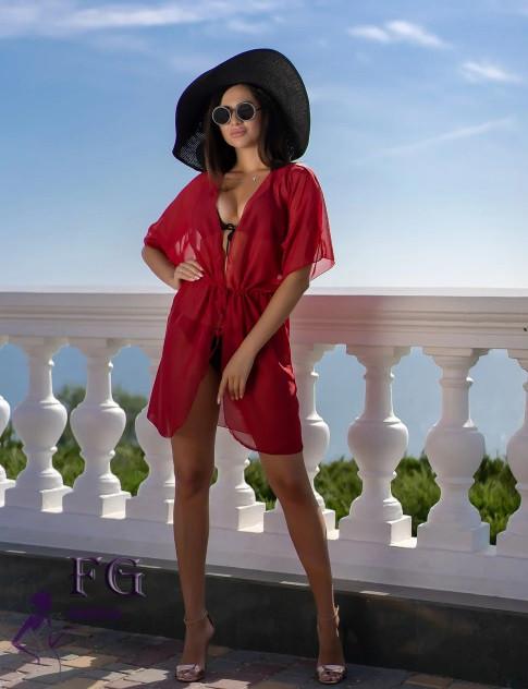 Короткий пляжный халат бордо - 42-44р. (бюст 84-88см, длина 80см), шифон