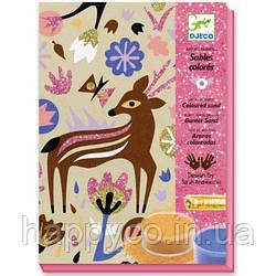 DJECO Художественный комплект рисование цветным песком Чудеса леса
