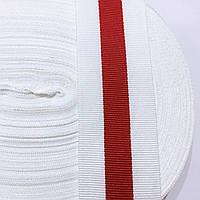 Лента репсовая для трикотажных изделий 40мм цв бело-красный (боб 50м)