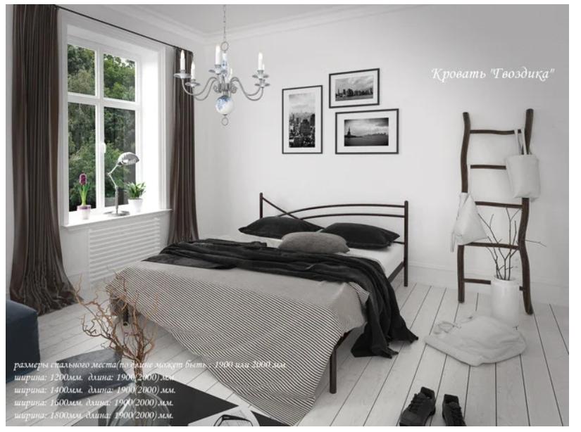 Кровать металлическая - Гвоздика
