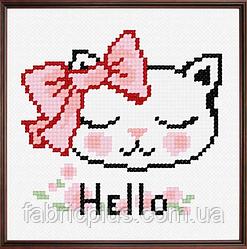"""Набор для вышивания """"Котенок"""" (ткань с рисунком, мулине, игла) 11*11 см"""