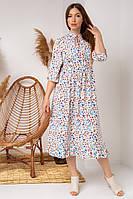 Чарівне плаття міді з укороченим рукавом і квітковим принтом яскраві квіти