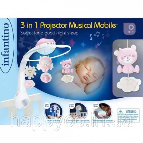INFANTINO Мобиль музыкальный с проектором 3 в 1, розовый