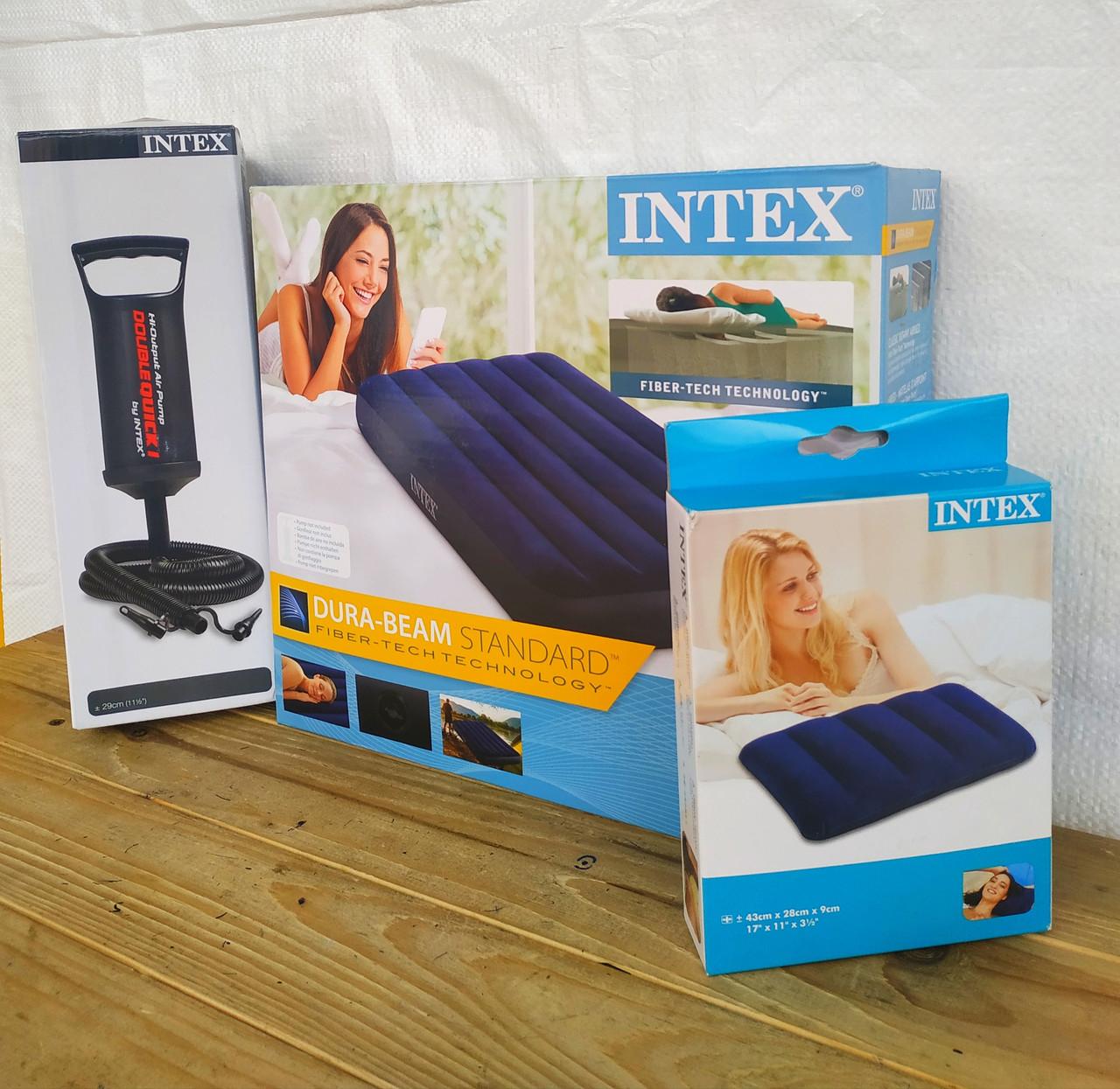 """Надувной матрас """"Intex"""" #64757 Синий 99х191х25 см. Велюр. Ручной насос и подушка в подарок. Одноместный"""
