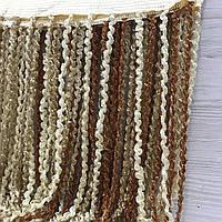 Шторы спирали на кухню радуга 300x280 cm Коричнево-кофейно-белые (Ki-4004), фото 1