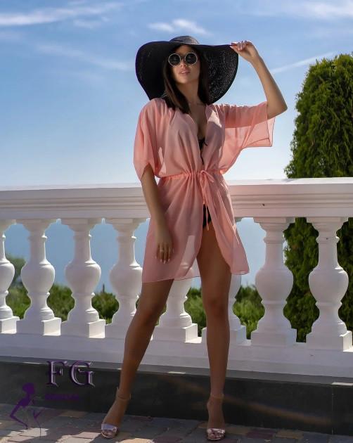 Короткий пляжный халат персик - 42-44р. (бюст 84-88см, длина 80см), шифон
