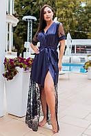 Кружевной длинный однотонный женский халат синий с кружевом