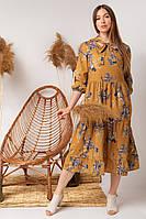 Стильне літній молодіжний сукня з бантом на зав'язці і укороченим рукавом гірчиця