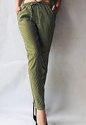Летние брюки из льна №21 БАТАЛ (хаки+белый)