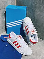 Кроссовки белые унисекс Адидас Суперстар Вайт Adidas Superstar White and Red. Кроссовки для мужчин и женщин