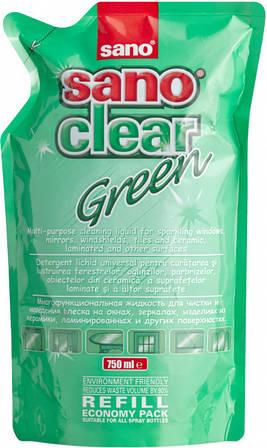 Средство для мытья стекол Sano Clear Green 750 мл Запаска