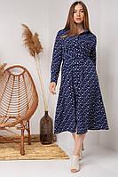 Молодіжне плаття з рубашечным коміром і довгими рукавами т. синій